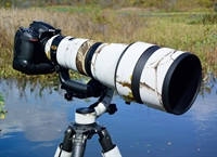 The awesome 400mm ED FL lens mounted on a Nikon DSLR