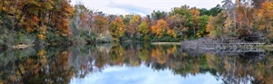 Panoramic of lake front with autumn trees