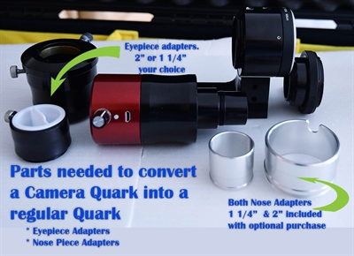 Diagram and parts listing to convert a Daystar Camera Quark